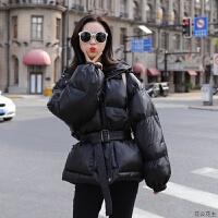 羽绒棉衣女中长款冬装新款韩版收腰显瘦面包服连帽外套潮 黑色