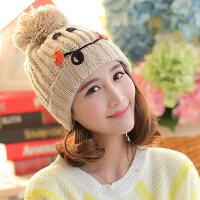 保暖 女笑脸毛线帽 翻边套头绒线帽 保暖毛球女帽