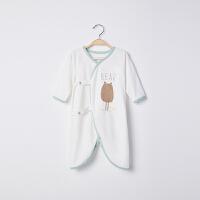 【2件3折 到手价:30】CHULFVEAN初纺 2019年夏 新生儿和尚服 婴儿薄款纯棉蝶衣连体衣服