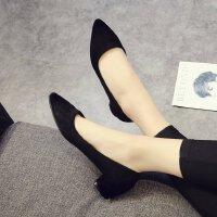 黑色职业工作正装高跟鞋女低跟3-5-7cm粗跟中跟大学生气质单鞋ol