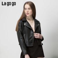 【清仓5折价269】Lagogo/拉谷谷2019春新款斜门襟短款长袖黑色PU外套女IARR131C56