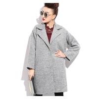 胖mm新款装 大码女装外套韩版时尚中长款加厚毛呢大衣