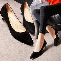 黑色高跟鞋女职业尖头低跟3-5厘米瓢鞋磨砂绒面细跟工作黑色单鞋
