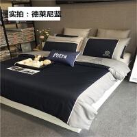 欧式床上四件套纯棉男士商务六件套床笠1.8m 2.0m 床单全棉被罩 2.0m床 220x240cm被套
