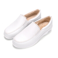 BANGDE冬季女鞋加绒白色护士鞋棉鞋厚底松糕摇摇女鞋舒适滑工作鞋黑