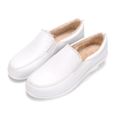 BANGDE冬季女鞋加绒白色护士鞋棉鞋厚底松糕摇摇女鞋舒适滑工作鞋黑   春节期间放假时间1.31号到2.11,放假期间暂停发货以及售后处理,正月初七恢复