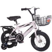 儿童自行车3岁脚踏车4-5-6-7-8岁男女宝宝童车12/14/16/18寸 白+高配礼包+后座架 (闪光辅助轮)