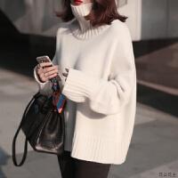白色高领毛衣女加厚2018秋冬款韩版长袖慵懒风中长款打底宽松套头