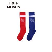 littlemoco秋季新品儿童袜子撞色条纹边字母休闲运动风棉袜童袜