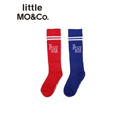 littlemoco秋季新品儿童袜子撞色条纹边字母休闲运动风棉袜童袜 弹力吸湿棉质 运动风撞色