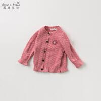 davebella戴维贝拉春装新款女童针织衫 宝宝针织外套DBM10847