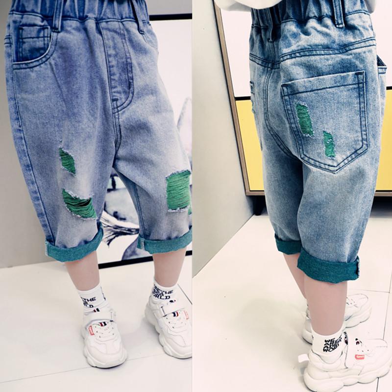 童装男童牛仔裤短裤夏装儿童中裤子中大童