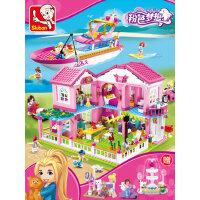小鲁班拼装儿童玩具积木公主别墅城堡城市3-6-8-9岁益智女孩子