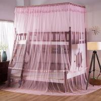 蚊帐双层床0.9m上下铺高低母子床1.2方顶宫廷落地儿童1.5米 直梯款 粉色