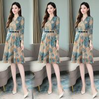 安妮纯长袖连衣裙女春季2020新款中长款春装高端气质减龄洋气收腰显瘦裙