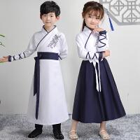 儿童弟子规表演服装三字经演出服儿童汉服女童古装男童汉服国学服