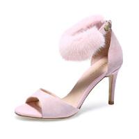 【 限时4折】哈森 夏款通勤羊皮一字带貂毛女鞋 细高跟鞋凉鞋女夏 HM88420