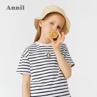 【2件4折价:67.6】安奈儿童装女童条纹T恤短袖2021新款洋气宽松型夏季薄款女孩上衣