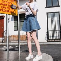 [2.5折价67.3元]唐狮夏装新款高腰半身裙双头毛边伞裙牛仔裙女韩版学生
