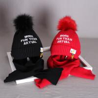 2-12岁儿童帽子冬季宝宝加绒毛线帽子围巾男女中童保暖套装