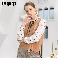 【清仓5折价224】lagogo2019春新款针织衫心机设计感毛衣打底衫外套女IAMM932A29