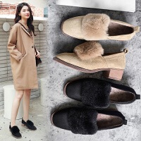 毛毛鞋女外穿2018新品冬季大码女鞋41粗跟43加绒豆豆鞋40