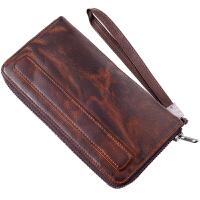 男士钱包长款植鞣羊皮手工复韩拉链大容量潮女真皮做旧手拿包