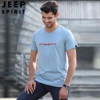 吉普jeep短袖t恤男装上衣纯色圆领青年男士宽松体恤商务休闲打底衫2019夏季新款