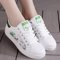 小白鞋平底板鞋2018新款学生皮面帆布鞋女韩版系带运动休闲鞋百搭 绿色 H33