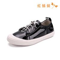 红蜻蜓女鞋春季圆头系带浅口休闲鞋B90801