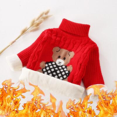 儿童毛衣 男女童加绒毛衣2020秋冬新款韩版针织毛线打底衫男女童中小童加厚卡通保暖套头衫 男女童加绒毛衣