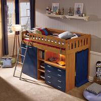 实木家具多功能儿童组合床带储物衣柜书桌半高床 蓝色骑士 +梯柜 1200mm*2000mm 带