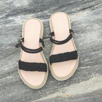 一鞋两穿凉鞋女夏平底新款学生韩版简约复古一字带草编鞋