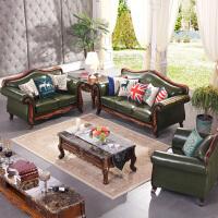 美式乡村复古工业风办公铁艺沙发 欧式实木皮艺位小户型客厅整装