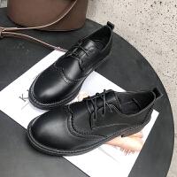 2019春季新款韩版平底百搭ins小皮鞋女复古英伦学院风布洛克单鞋