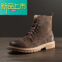 新品上市古贝马丁靴男棉鞋复古皮靴子冬季高帮鞋保暖加绒雕花工装靴