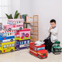 儿童收纳凳 男女童可坐折叠覆膜无纺布多功能储物箱汽车头收纳箱学生大容量卡通收纳储物凳子