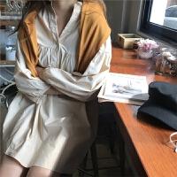 新款连衣裙 2019春夏韩版长袖气质娃娃裙宽松显瘦纯色V领连衣裙 均码