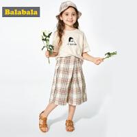 巴拉巴拉童装女童七分裤夏装新款小童宝宝韩版儿童裤子格子裤