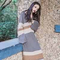 秋冬女装针织连衣裙中长款修身长袖裙子慵懒风宽松毛衣裙打底长裙 条纹拼色