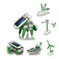 6合1太阳能机器人创意拼装科学儿童玩具圣诞节生日礼物 绿色 均码