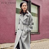 灰色格纹拼接风衣式毛呢外套女中长款韩版春装2019新款羊毛大衣女