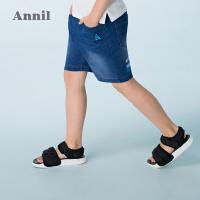 【3件3折:71.7】安奈儿童装男童牛仔短裤夏装新款儿童针织牛仔五分裤运动裤子