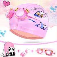儿童泳帽PU涂层泳镜防水公主卡通游泳镜男童女童宝宝护耳泳帽套装