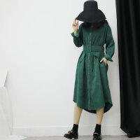 新年特惠衬衫裙秋冬女装韩版新款宽松过膝中长款复古气质灯芯连衣裙长袖 绿色 灯芯绒衬衫裙