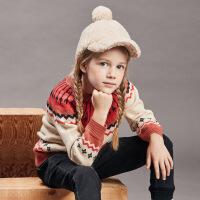 davebella戴维贝拉kids童装秋季新款女童中大童套针织衣DBK11251