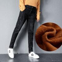 哈伦牛仔裤2018新款女冬季加绒高腰韩版显瘦加厚外穿宽松大码胖