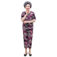 奶奶装夏装冰丝短袖两件套装中老年女装妈妈60岁70老人夏天衣服女