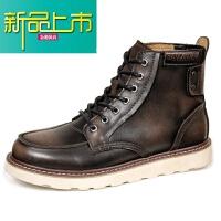 新品上市男士高帮棉鞋中帮冬季靴子潮雪地靴工装英伦马丁靴男加绒男鞋