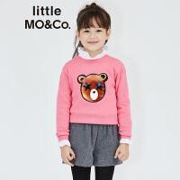 【折后价:209.7】littlemoco男女童梦幻小熊图案圆领纯羊毛套头衫儿童毛衣